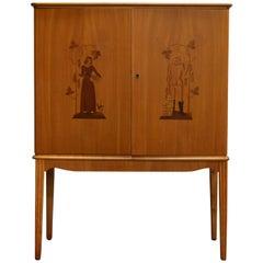 Swedish Art Deco Intarsia Storage, Bar Cabinet