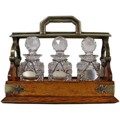 19th Century Tantalus with Crystal Decanters