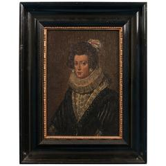 Antique Painting on Wood Panel, Portrait of a Dutch Lady, circa 1840