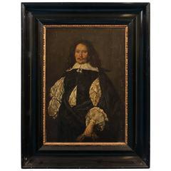 Antique Painting on Wood Panel, Portrait of a Dutch Gentleman
