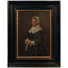 Antique Painting on Wood Panel, Portrait of a Dutch Woman