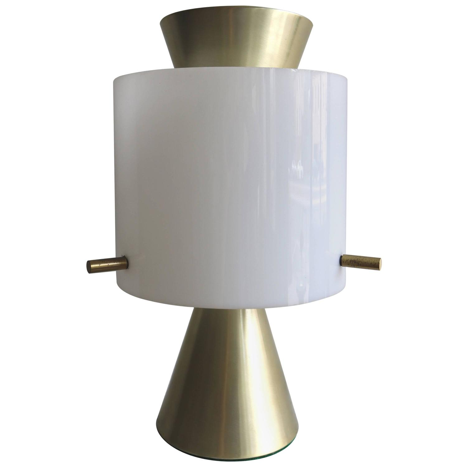 mid century modern spun brass and frosted glass table lamp. Black Bedroom Furniture Sets. Home Design Ideas
