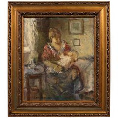 Antique Danish Impressionist Painting of a Mother and Child, Signed Emiel Hansen