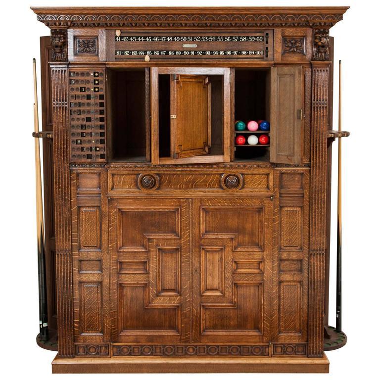 Victorian Carved Oak Billiards Cabinet by Thurston & Co. of London