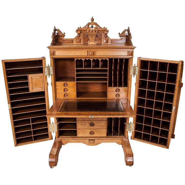 Oak Wooton's Patent Cabinet Desk, Indianapolis, circa 1875