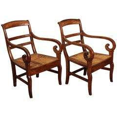 Pair of Wood Curled Armchairs