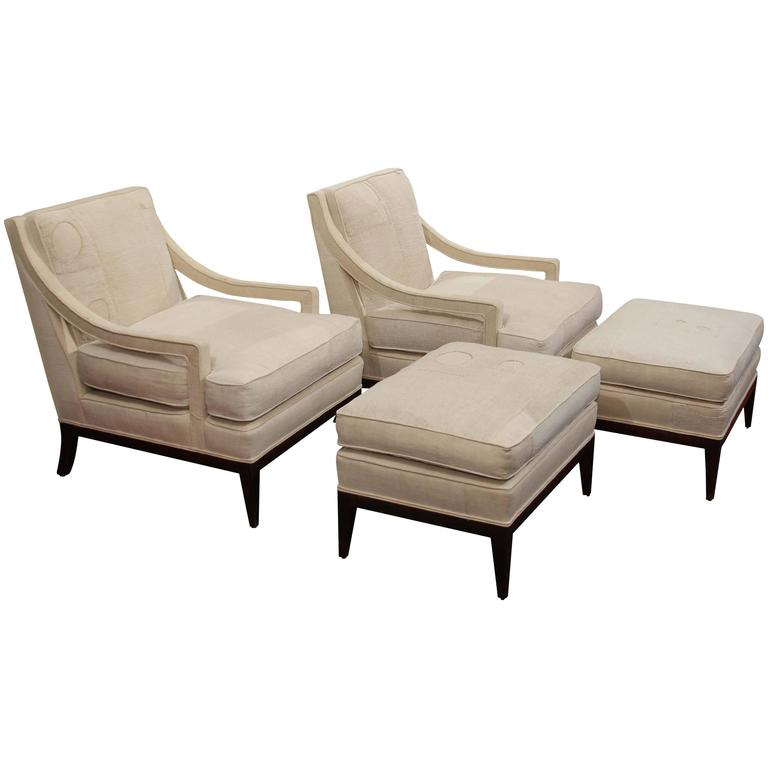 Pair of Mid-Century Chairs and Ottomans in Homespun 1