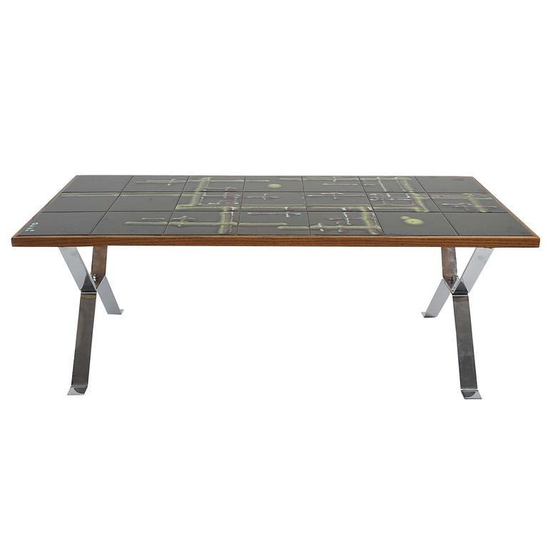 Mid-Century French Tile-Top Coffee Table