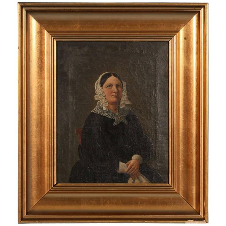 Small Antique Painting, Portrait of a Danish Woman, circa 1840-1860