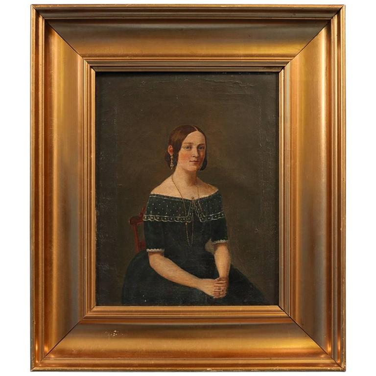 Small Antique Painting, Portrait of a Young Danish Woman, circa 1840-1860