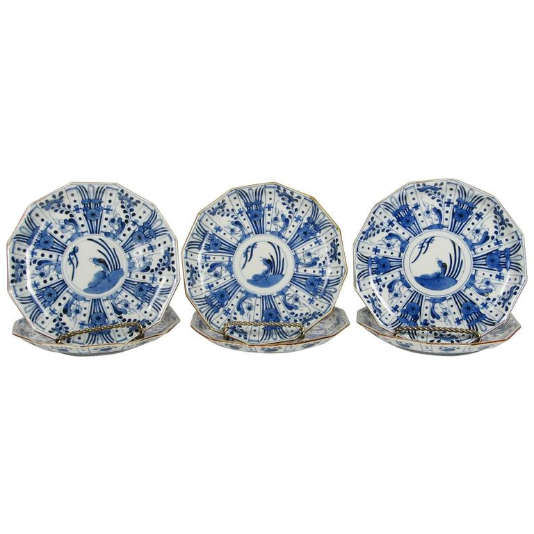 Set of Six Rare Japanese Ko-Imari Blue and White Porcelain Plates For Sale