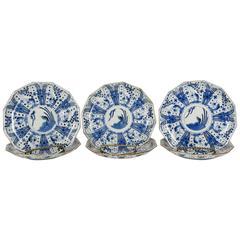 Set of Six Rare Japanese Ko-Imari Blue and White Porcelain Plates