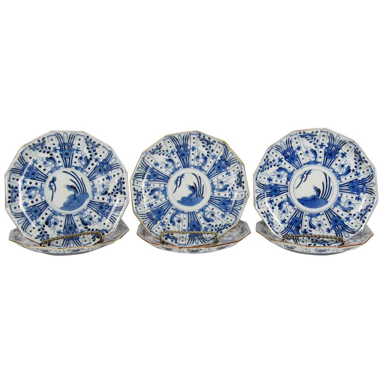 Set of Six Rare Japanese Ko-Imari Blue and White Porcelain Plates For Sale at 1stdibs  sc 1 st  1stDibs & Set of Six Rare Japanese Ko-Imari Blue and White Porcelain Plates ...