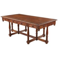 French Renaissance Revival Style Oak Library Table or Desk, Late 1800s