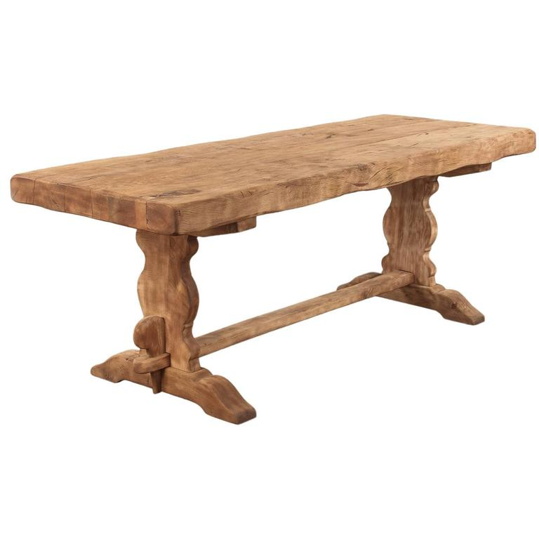 French Country Washed Oak Trestle Table, Early 1900s For Sale