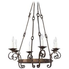 French Gothic Revival Black Wrought Iron Chandelier, circa 1940s