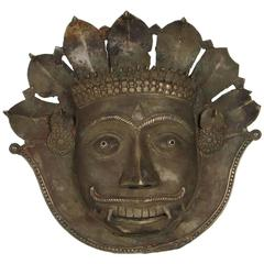19th Century Indian Bronze Tiger Mask