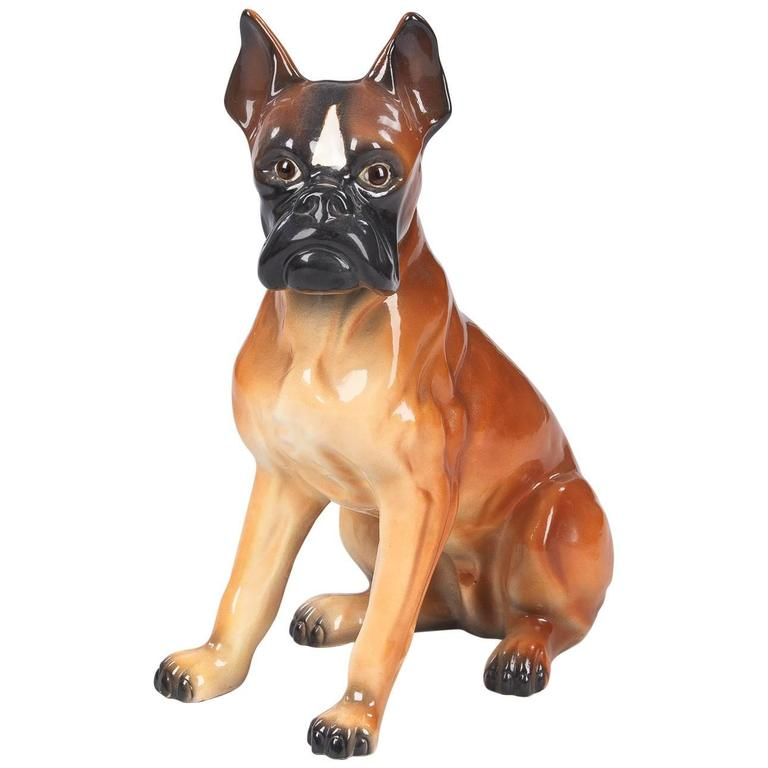 French Ceramic Boxer Figurine, 1950s