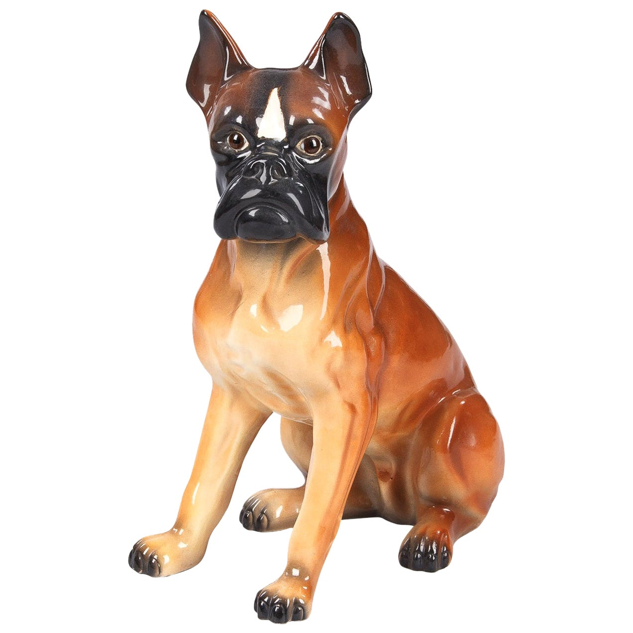 French Ceramic Boxer Dog Sculpture, 1950s