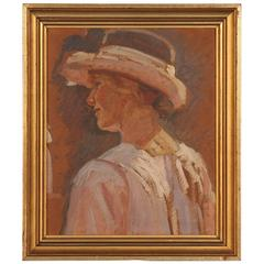 Antique Danish Impressionist Painting of a Young Woman Wearing a Hat