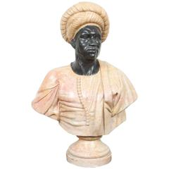 Large Orientalist Style Two Color Marble Bust of a Nubian