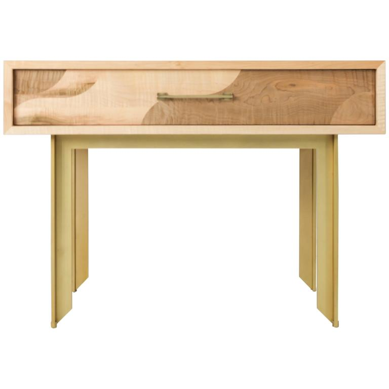 Betty Side Table, American Hardwood and Brass 1