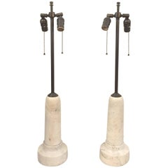 "Vintage Marble ""Bullet"" Table Lamps, Set of Two"