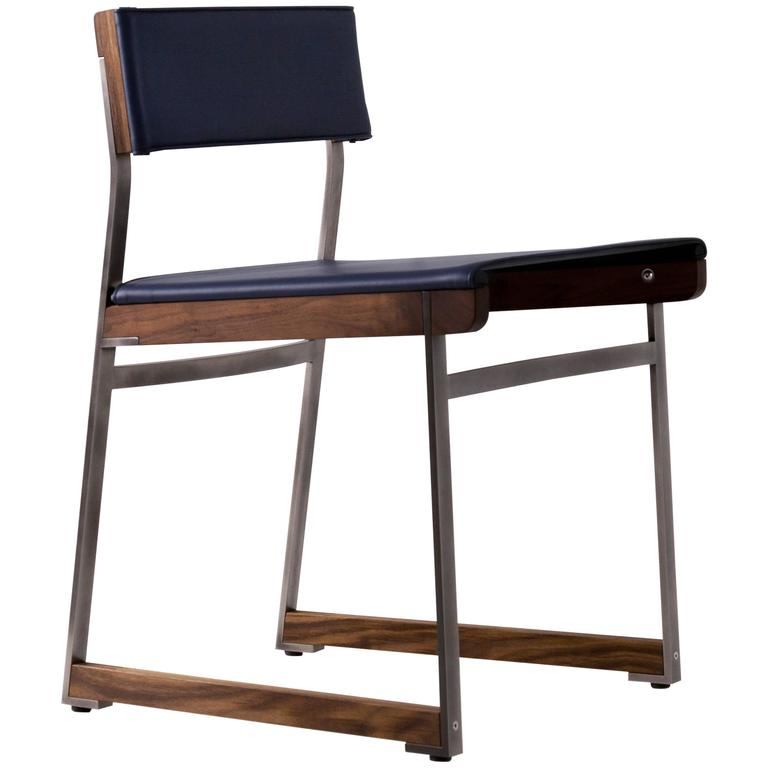 Diego Dining Chair in Leather, American Hardwood and Steel For Sale