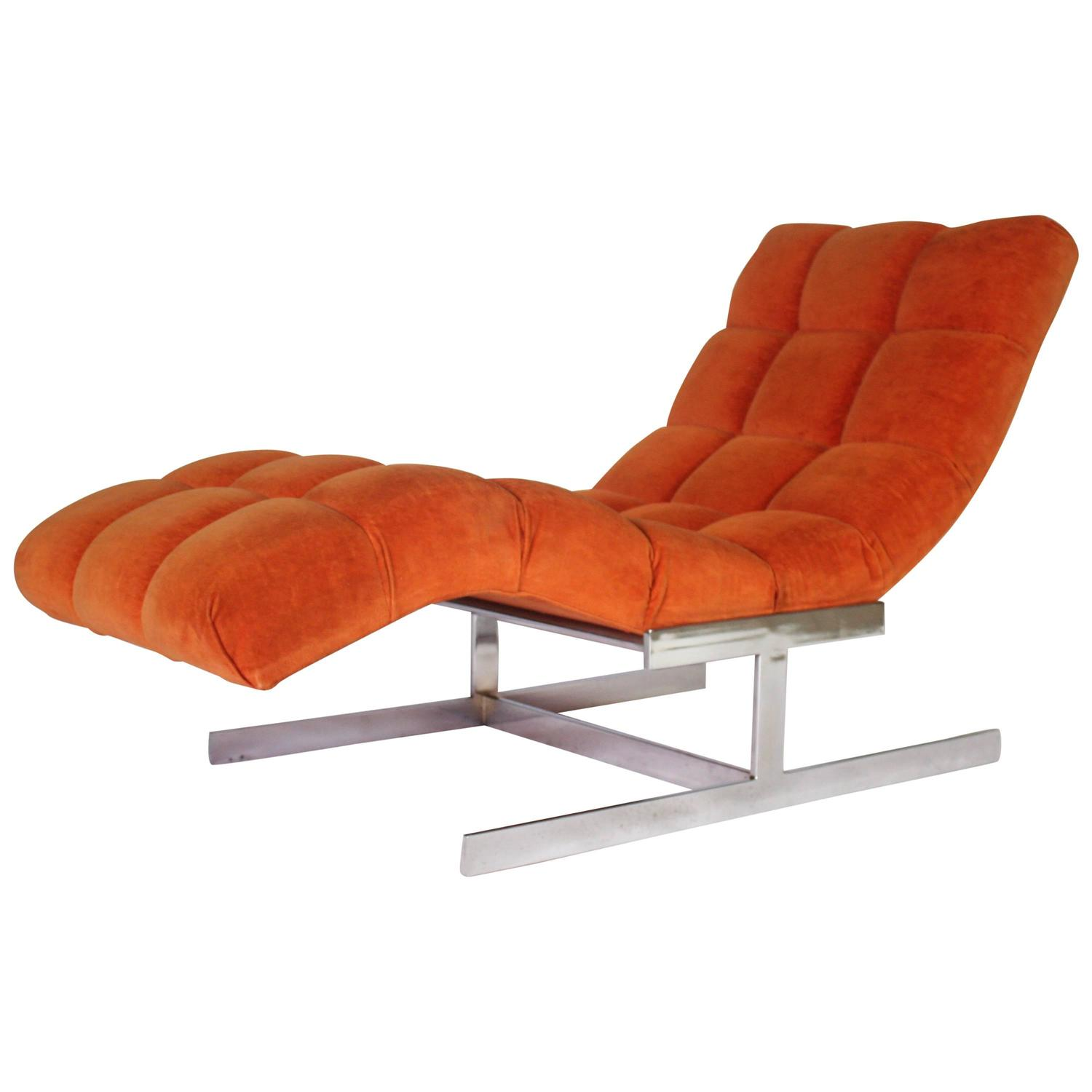 Milo baughman wave chaise longue at 1stdibs for Chaise longue orange