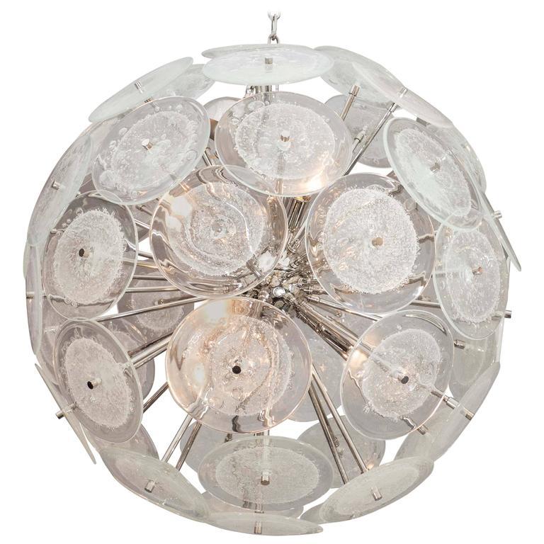 Custom Pulegoso Murano Disc Sputnik Chandelier