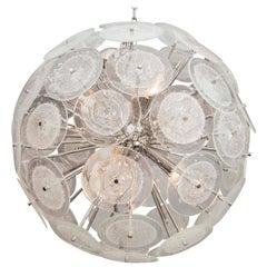 Clear Pulegoso Murano Glass Disc Sputnik Chandelier
