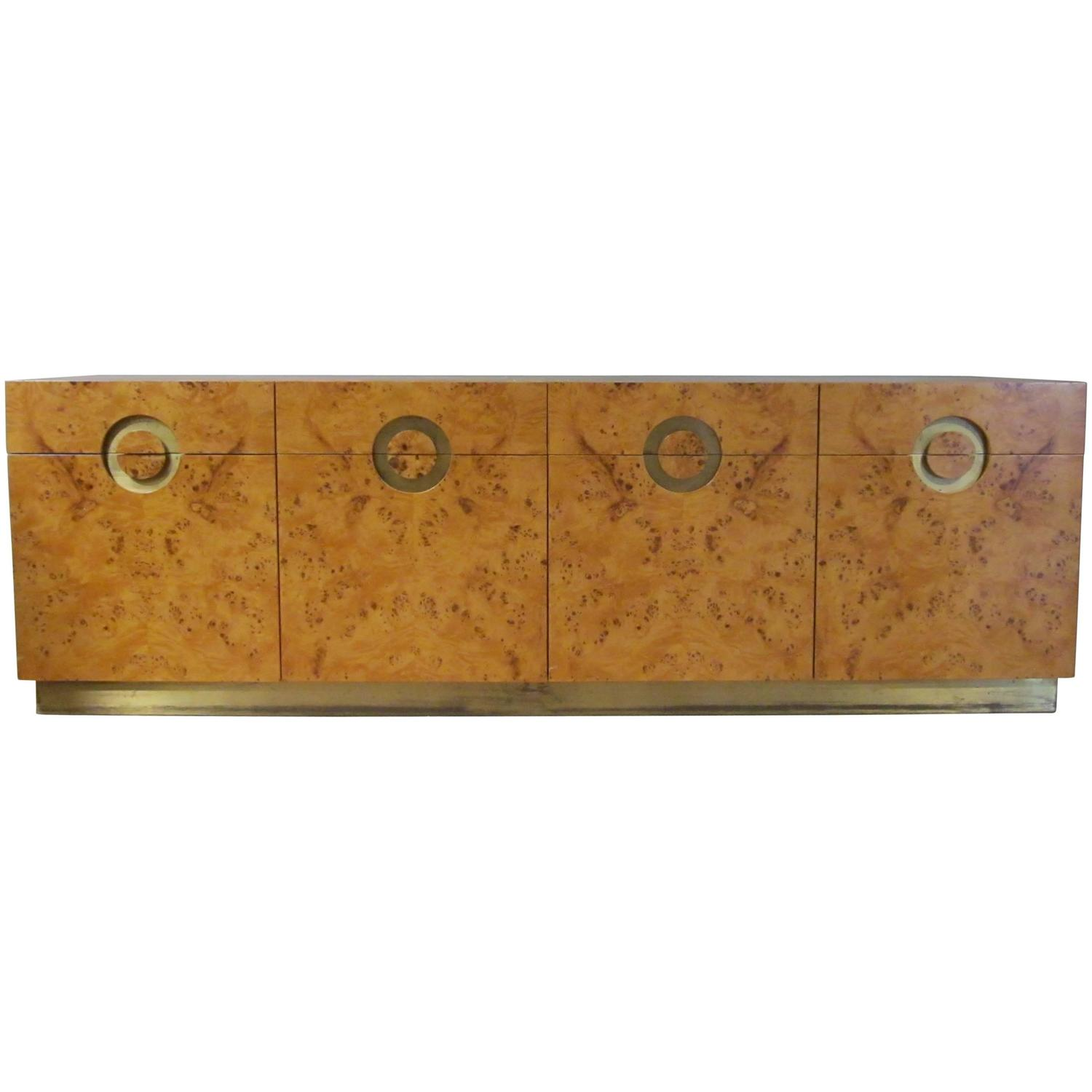 Italian Circa 1970 Willy Rizzo Burl Birchwood Four Door Credenza At 1stdibs