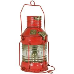 Large Antique English Red Nautical Lantern with Brass Detail and Label