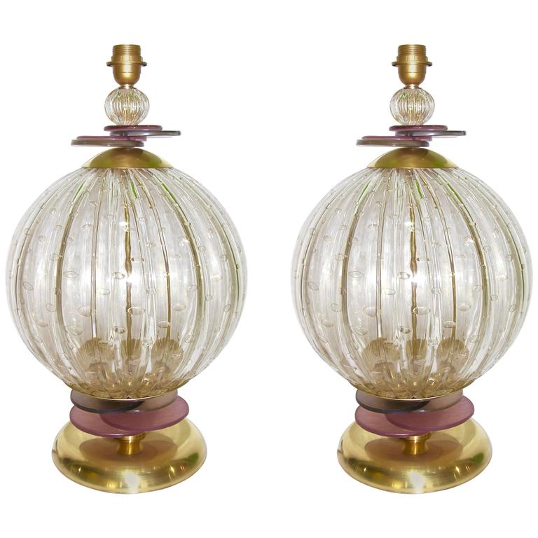 1980s Italian Pair of Round Gold Murano Glass Lamps with Purple and Gray Accents
