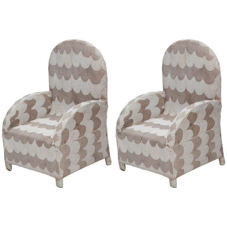 Pair of African Beaded Chairs