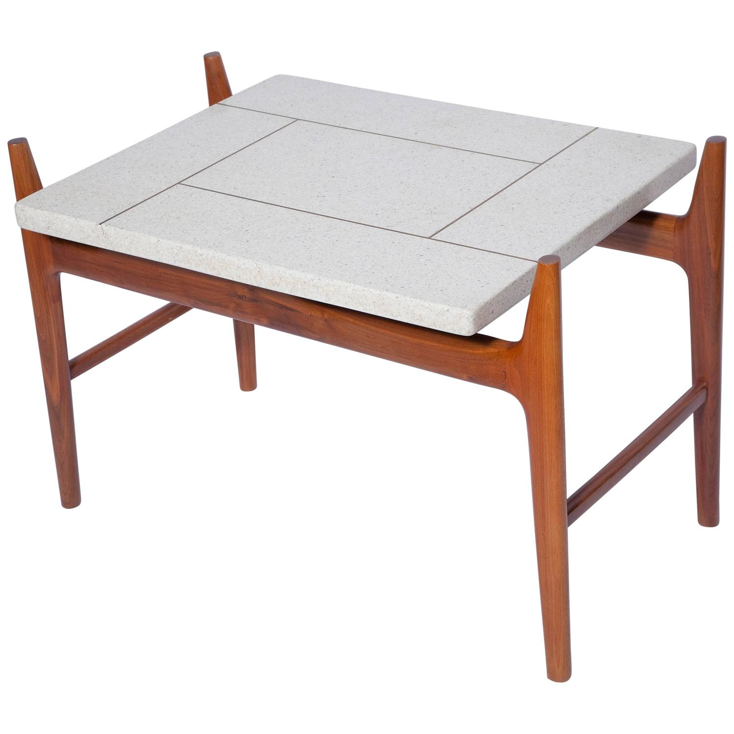 Harvey Probber Teak Table with Brass Inlaid Terrazzo Top at 1stdibs