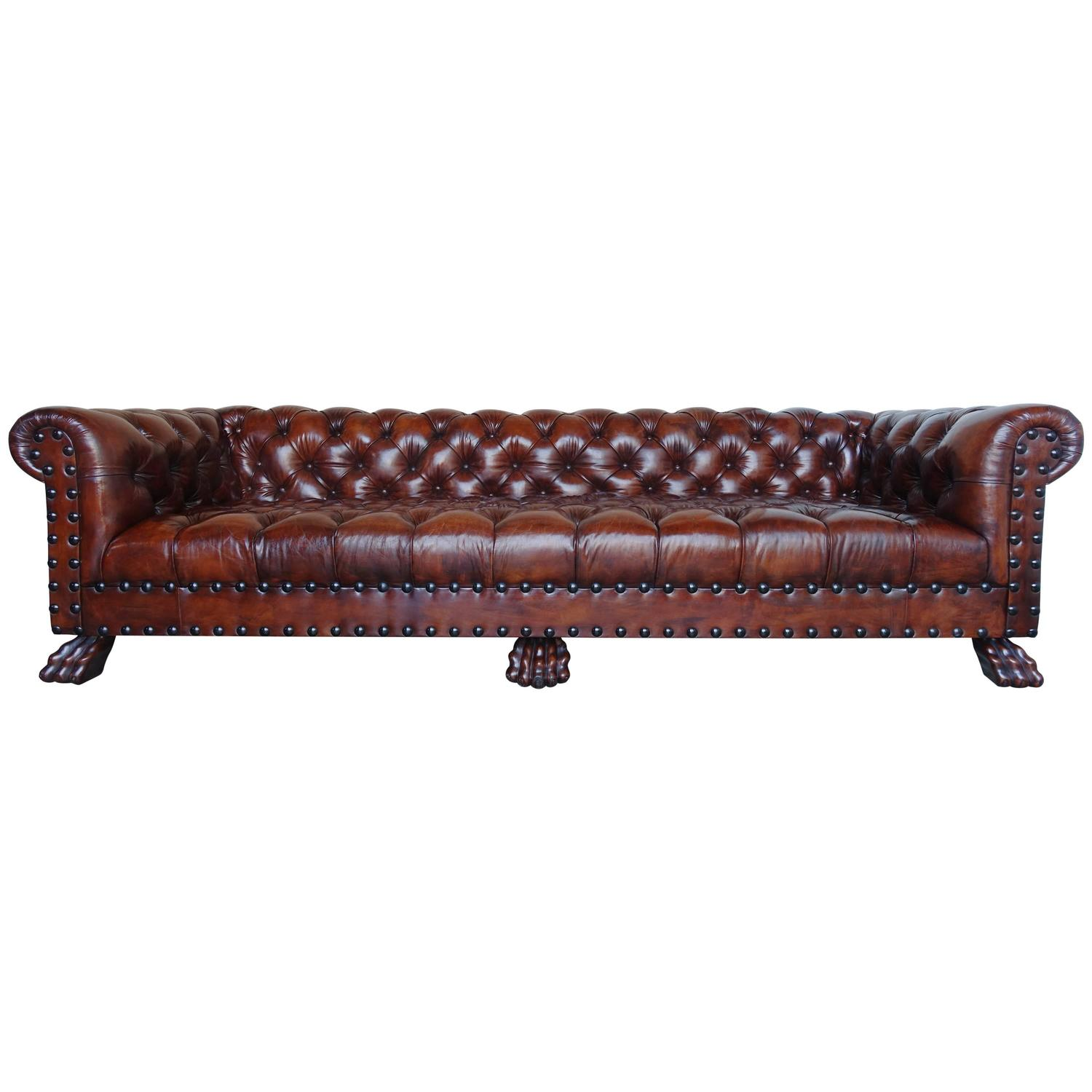 Monumental Chesterfield Leather Sofa With Nailhead Trim At 1stdibs