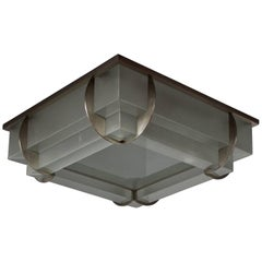 A Fine French Art Deco Two-Tier Square Flush Mount by Jean Perzel