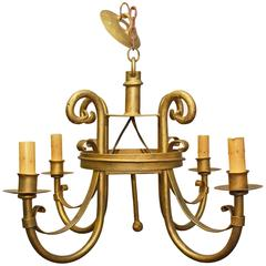 Spanish Renaissance Style Gilt Metal Chandelier