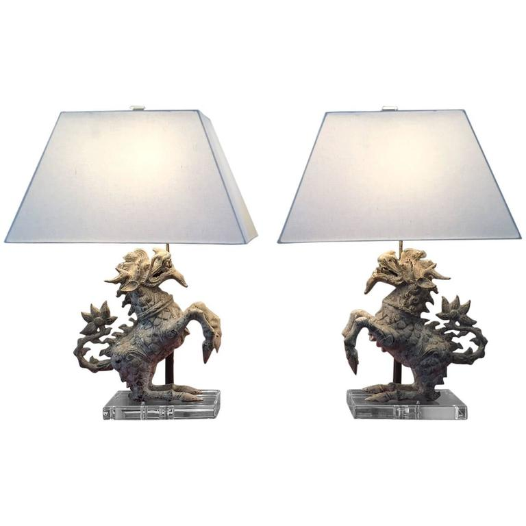 Pair of Foo Dog Table Lamps 1