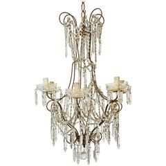 Vintage Six-Branch Crystal Chandelier