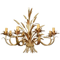 French Gilt Tole Sheaf of Wheat Chandelier