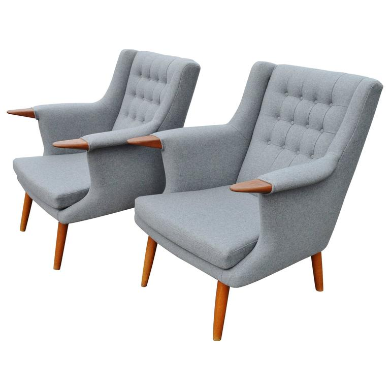 Pair of Restored Baby Bear Danish Modern Teak Lounge Chairs in Grey Wool at 1