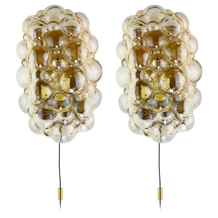 1960s Pair of Amber Bubble Glass Wall Lights by Helena Tynell for Limburg