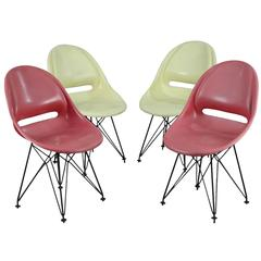 Set of Four Seats with Eiffel Tower Legs After Eames