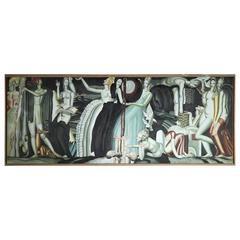 """Large Oil Painting After """"La Vigne et le vin"""" by Jean Dupas"""