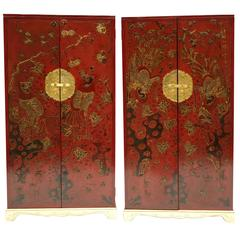 Pair of Chinese Style Red Lacquer Bookcases, circa 1900