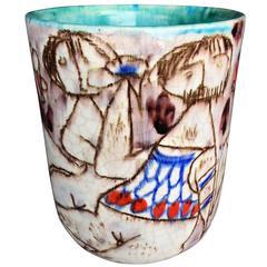 "Italy  ""Erotica"" Vessel Studio Ceramic 1950 Picasso Fantoni Gambone  FREE SHIP"