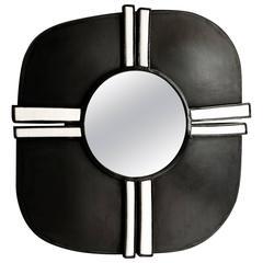 Black Steel and White Ceramic Contemporain Mirror