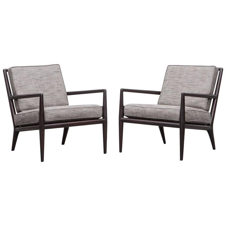 Pair of T. H. Robsjohn-Gibbings Lounge Chairs * NEW UPHOLSTERY * For Sale